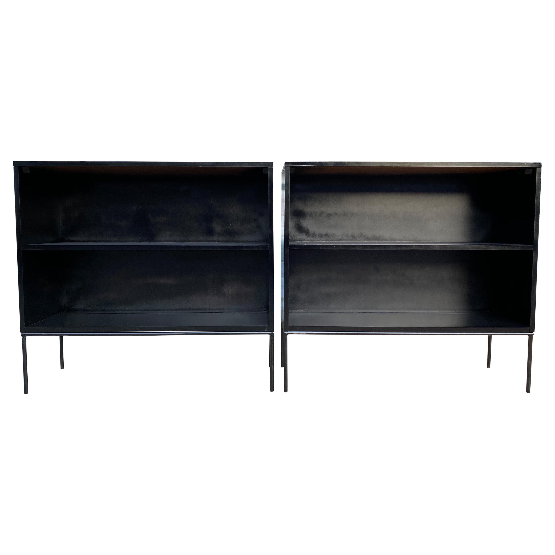 Pair of Midcentury Paul McCobb Single Bookshelf #1516 Maple Iron Base Black