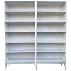 Pair of Midcentury Paul McCobb Triple Bookshelves #1516 Maple Lacquer White