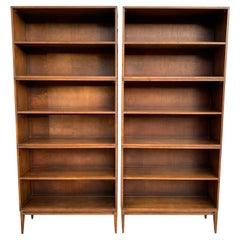 Pair of Midcentury Paul McCobb Triple Bookshelves #1516 Maple Walnut Finish