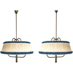 Pair of Midcentury Pendants with Ivory and Blue Fabric Lampshades, Italy, 1950s