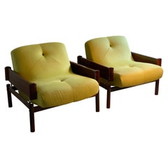 Pair of Midcentury Percival Lafer Rosewood Lounge Chairs, 1960s