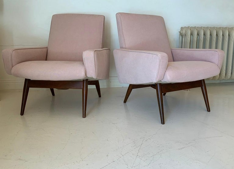 Pair of Midcentury Pink Lounge Chairs For Sale 2