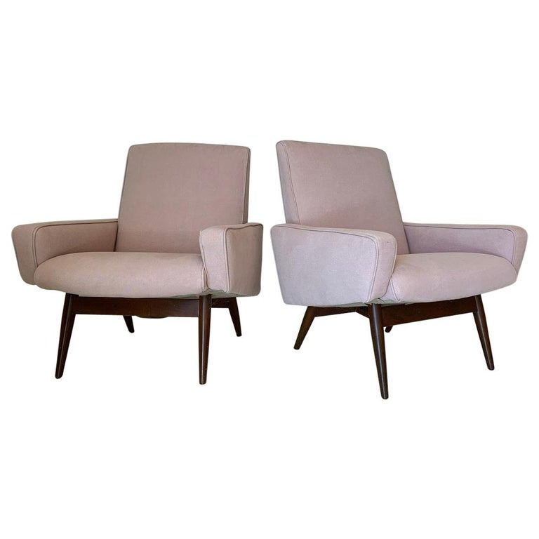 Pair of Midcentury Pink Lounge Chairs For Sale