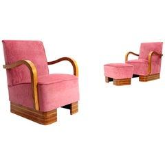 Pair of Midcentury Pink Velvet Italian Armchairs and Pouf, 1940s