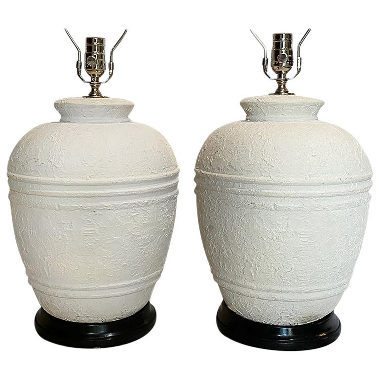 Pair of Midcentury Plaster Table Lamps For Sale
