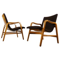 Pair of Midcentury Plywood Chairs, Convertible Easy Chairs from Lübke, Germany