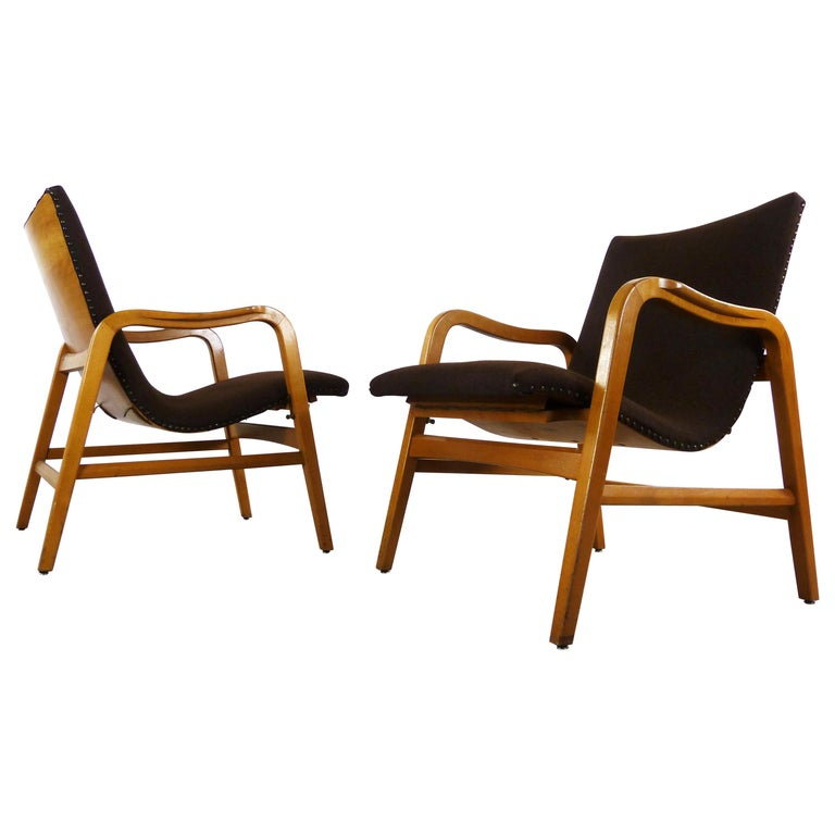 Pair of Midcentury Plywood Chairs, Convertible Easy Chairs from Lübke, Germany For Sale
