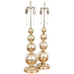 Pair of Midcentury Polished Nickel Spherical Lamps