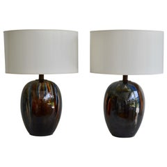 Pair of Midcentury Polychrome Drip Glazed Ceramic Ovoid Form Table Lamps