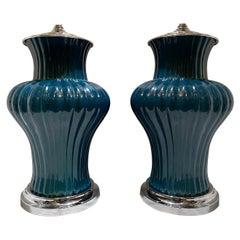 Pair of Midcentury Porcelain Lamps