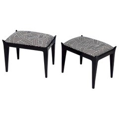 Pair of Midcentury Poufs Upholstered in Black and White Fabric by Dedar