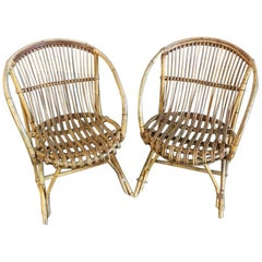 Pair of Midcentury Rattan and Bamboo Armchairs