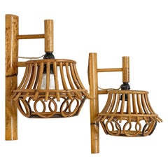 Pair of Midcentury Rattan and Bamboo Italian Sconces Attributed to Albini, 1950s
