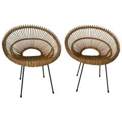 Pair of Midcentury Rattan Chairs in the Style of Franco Albini, Italian, 1950s