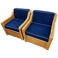 Pair of Midcentury Rattan Lounge Chairs Newly Reupholstered