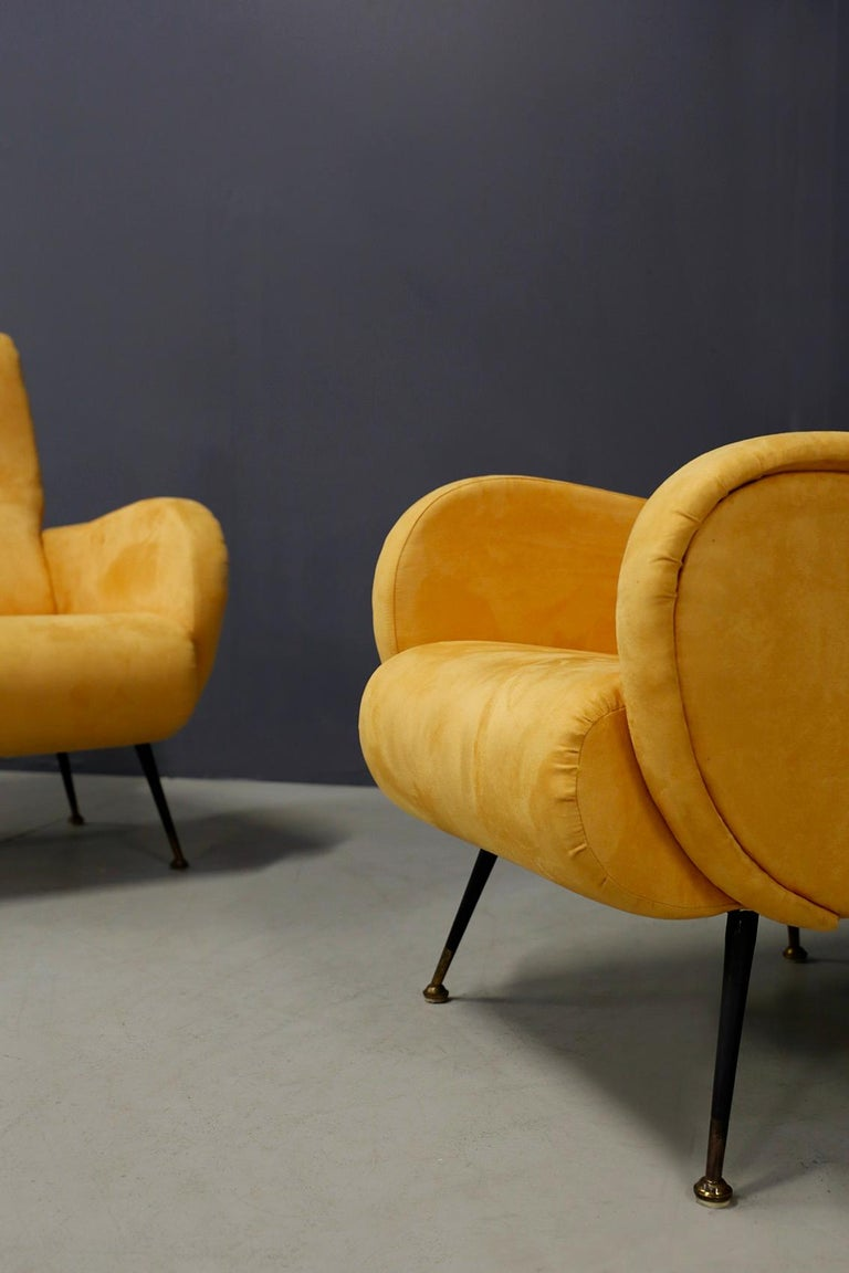 Pair of Midcentury Reclining Armchairs in Yellow Velvet in Zanuso Style, 1950s For Sale 1