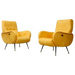 Pair of Midcentury Reclining Armchairs in Yellow Velvet in Zanuso Style, 1950s