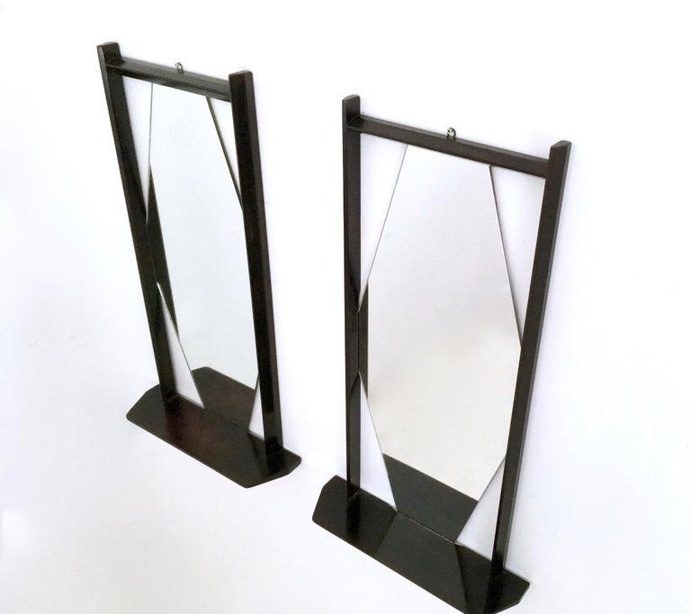 Mid-20th Century Pair of Midcentury Rectangular Black Ebonized Wood Wall Mirrors, Italy, 1960s