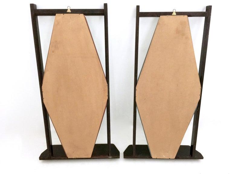 Pair of Midcentury Rectangular Black Ebonized Wood Wall Mirrors, Italy, 1960s 2