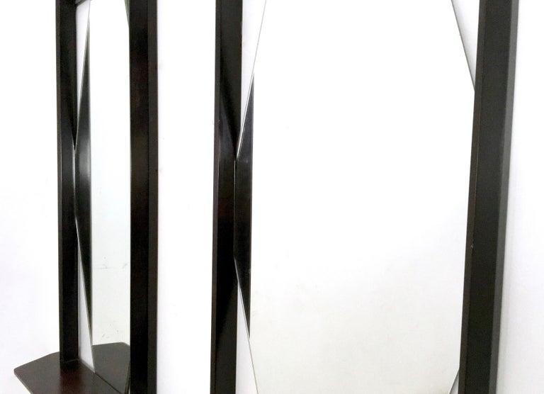 Pair of Midcentury Rectangular Black Ebonized Wood Wall Mirrors, Italy, 1960s 4