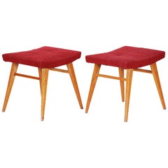 Pair of Midcentury Red Beech Stools, 1960s, Original Preserved Condition