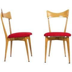 Pair of Midcentury Red Chair by Ico & Luisa Parisi for Ariberto Colombo, 1950