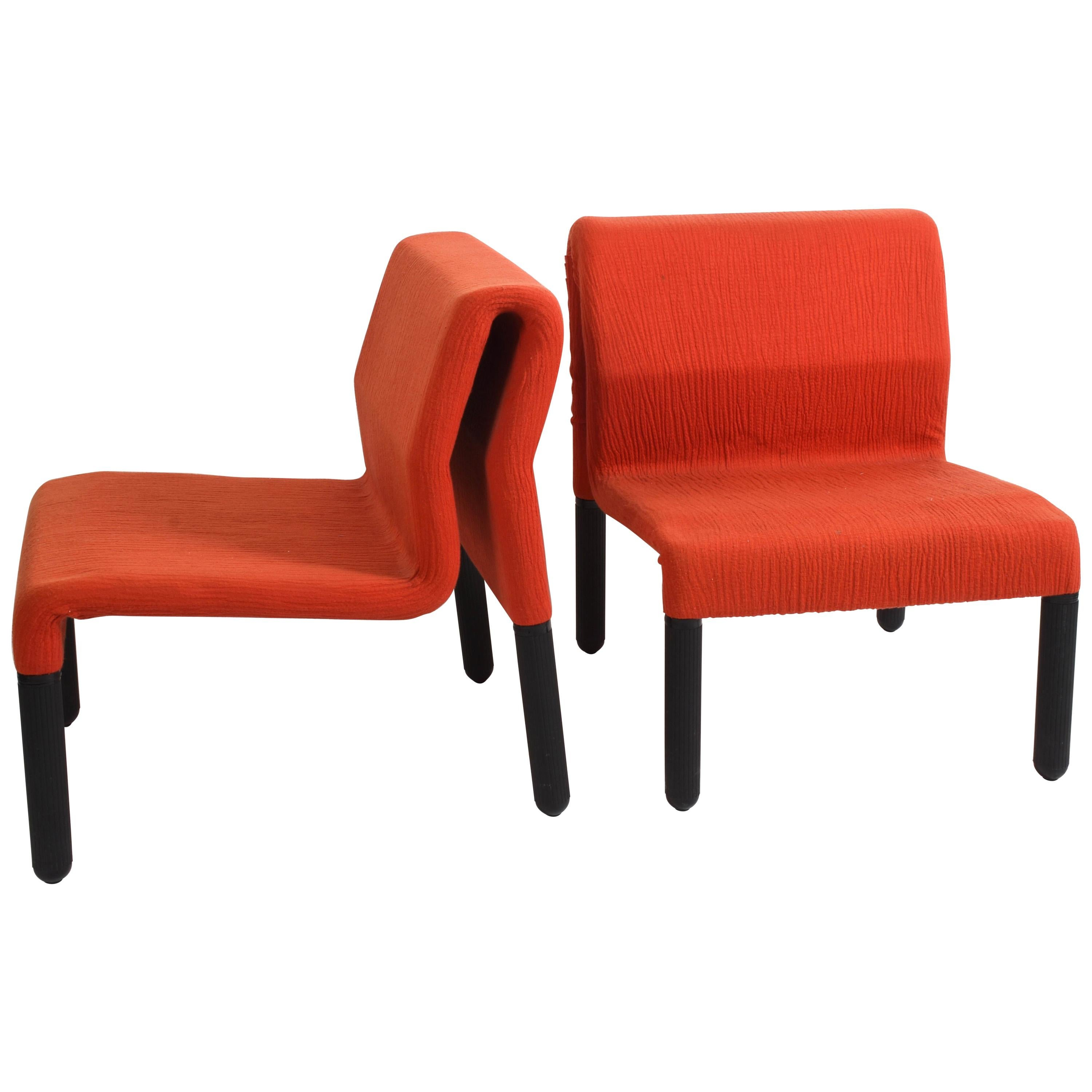 Pair of Midcentury Red Fabric and Black Plastic Italian Armchairs, 1980s