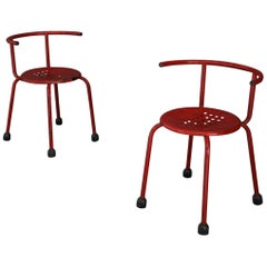 Pair of Midcentury Red Iron Chairs by Ettore Sottsass, 1960s