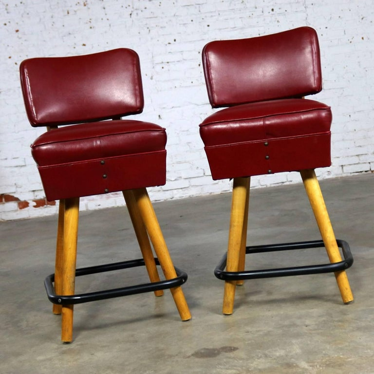 Pair Of Midcentury Red Vinyl And Blonde Counter Height Bistro Bar