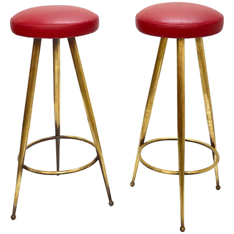 Pair of Midcentury Red Vinyl and Brass Tripod Italian Bar Stools, 1950s For Sale