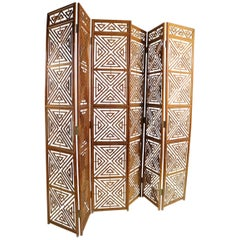 Pair of Mid Century  Reed Wicker Bamboo Folding Screens