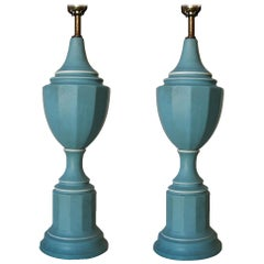Pair of Midcentury Regency Blue Ceramic Table Lamps