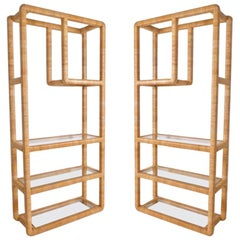 Pair of Midcentury Regency Rattan Cane and Glass Shelving Units