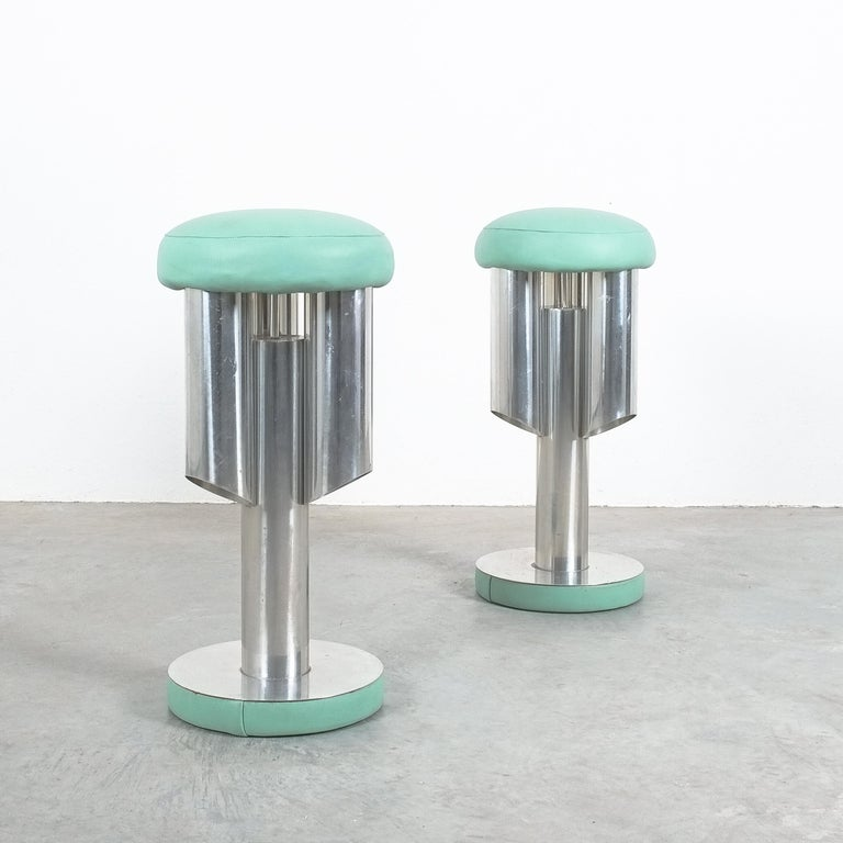 Great pair of aeronautical rocket chairs or bar stools from Italy, circa 1970  One of a kind pair of barstools with a set-height of 28