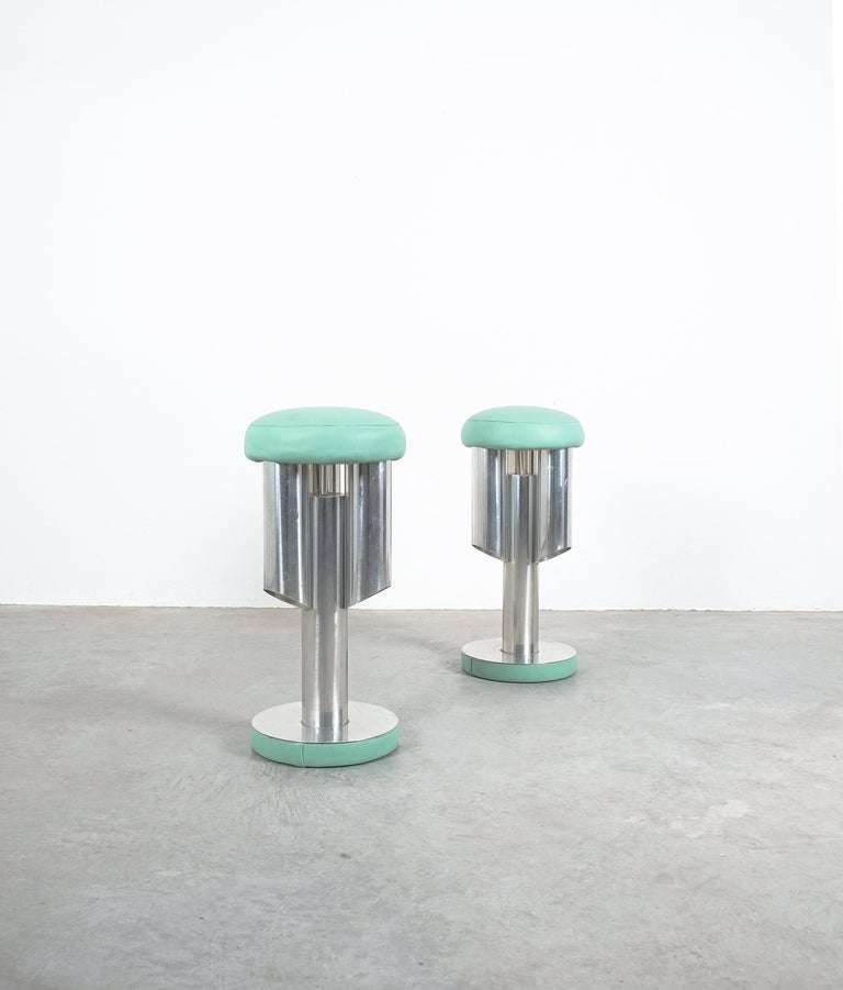Space Age Pair of Midcentury Rocket Stools from Aluminum and Leather, Italy For Sale