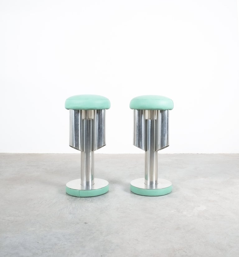 Italian Pair of Midcentury Rocket Stools from Aluminum and Leather, Italy For Sale