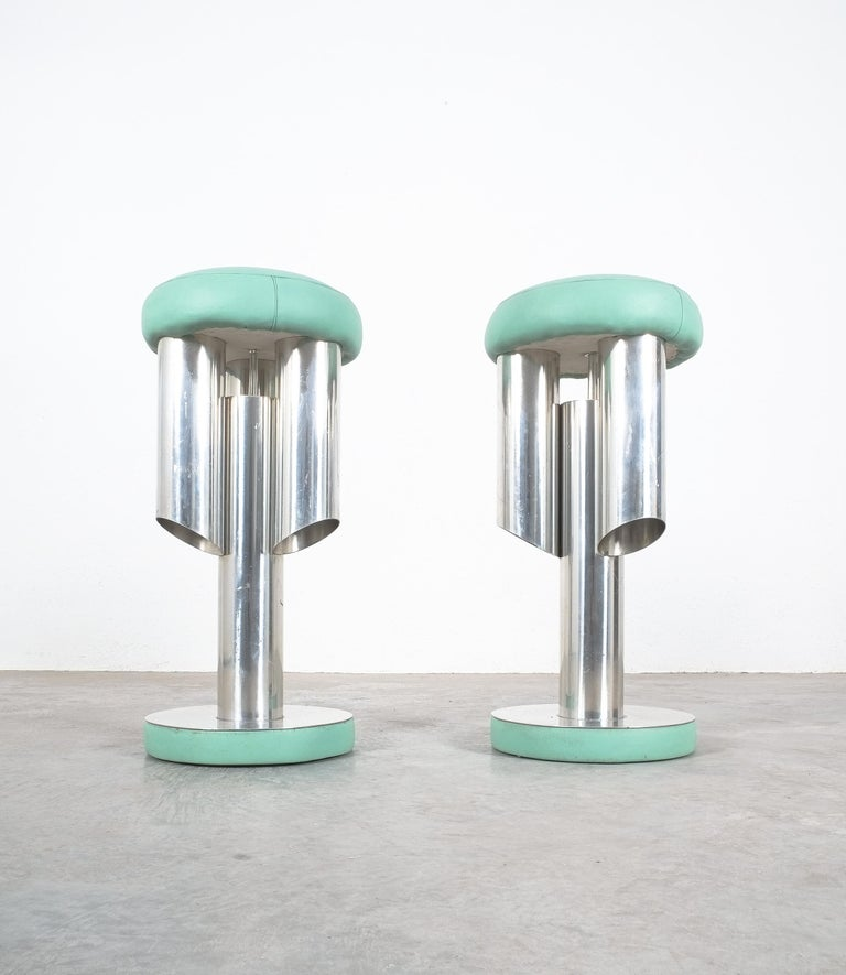 Late 20th Century Pair of Midcentury Rocket Stools from Aluminum and Leather, Italy For Sale
