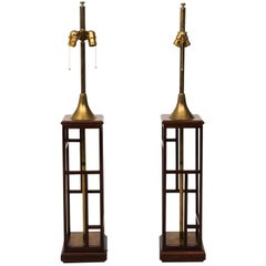 Pair of Midcentury Rosewood and Brass Chinoiserie Lamps