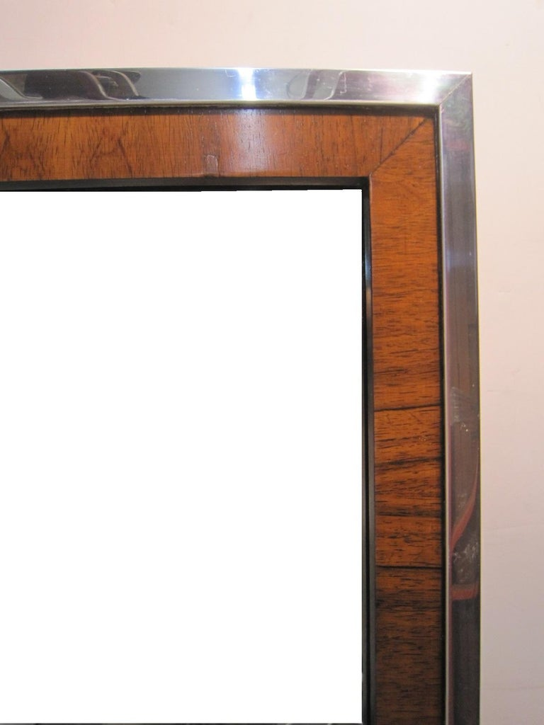 Pair Of Midcentury Rosewood And Chrome Mirrors By