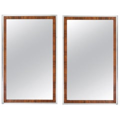 Pair of Midcentury Rosewood and Chrome Mirrors by Widdicomb Co / John Stuart