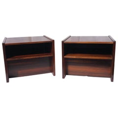 Pair of Midcentury Rosewood Bedside Tables / Cube Nightstands, Danish, 1970s