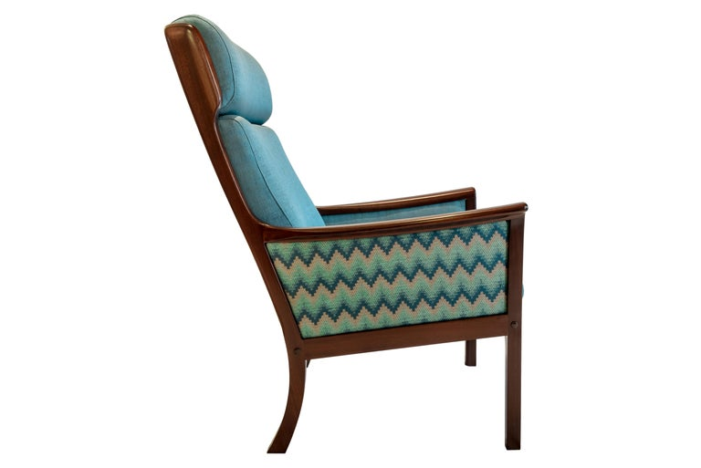 Danish Pair of Midcentury Rosewood Highback Easy Chairs by Ole Wanscher for P.Jeppesen For Sale