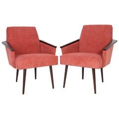 Pair of Midcentury Rosewood Pink Corduroy Club Armchairs, 1960s