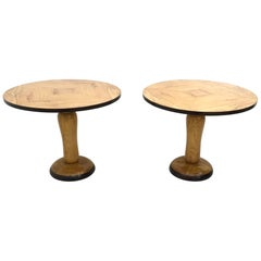 Pair of Midcentury Round Olive Wood and Ash Dining Table, Italy, 1940s