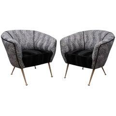 Pair of Midcentury Round Velvet and Brass Armchairs, 1950