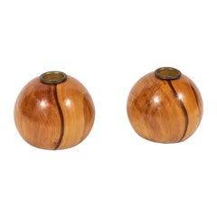 Pair of Midcentury Round Wood Candleholders