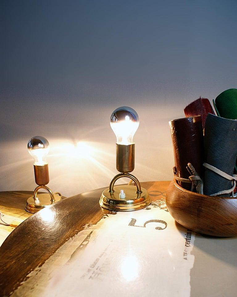 Mid-Century Modern Pair of Midcentury Rupert Nikoll Brass Nightstand Table Lamps, 1950s, Austria For Sale