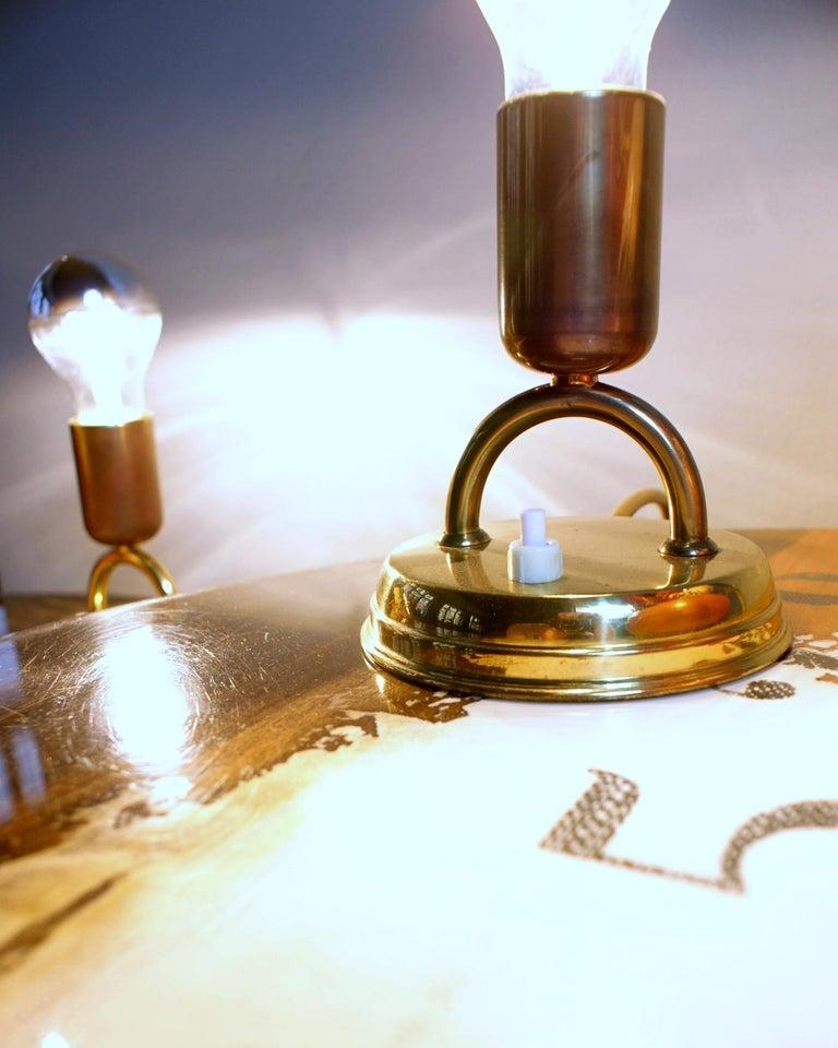Austrian Pair of Midcentury Rupert Nikoll Brass Nightstand Table Lamps, 1950s, Austria For Sale