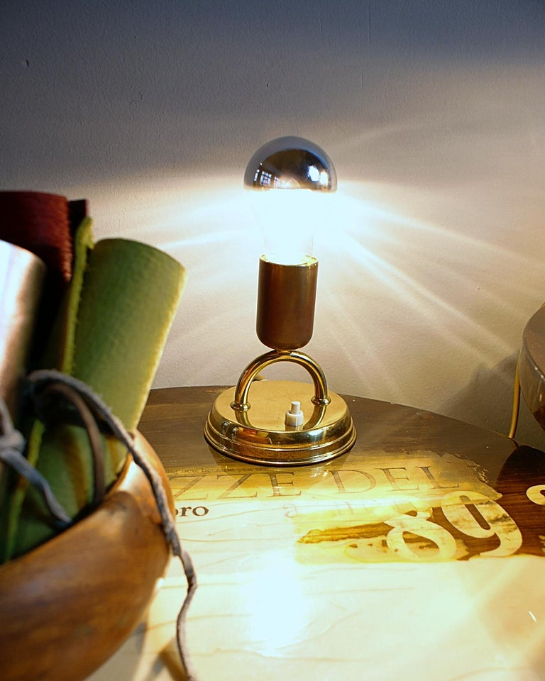 Metalwork Pair of Midcentury Rupert Nikoll Brass Nightstand Table Lamps, 1950s, Austria For Sale