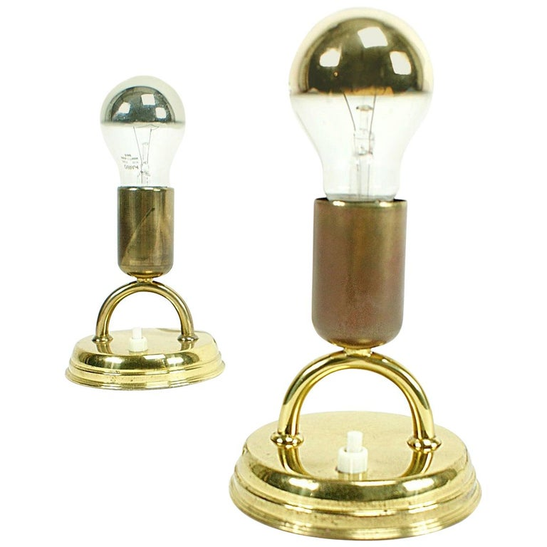 Pair of Midcentury Rupert Nikoll Brass Nightstand Table Lamps, 1950s, Austria For Sale